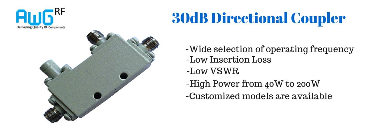 30dB directional coupler 2-8GHz 50W power